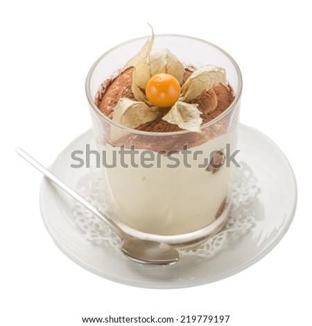 Tiramisu dessert garnished with physalis isolated on white background - stock photo