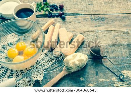 Tiramisu ingredients/retro filter - stock photo