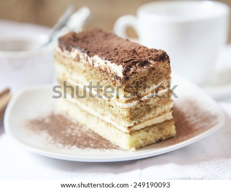 Tiramisu Italian Layered Cake, Selective Focus - stock photo