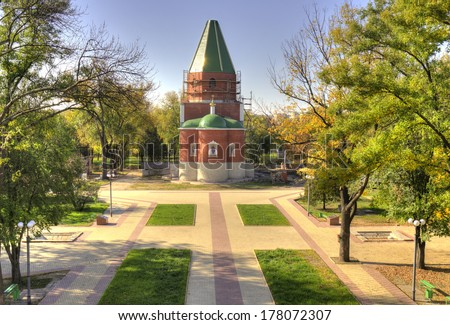 TIRASPOL, TRANSNISTRIA - OCTOBER 20: a church on October 20, 2013 in Tiraspol, Transistria. Tiraspol is the capital of Transnistria, a self governing territory not recognised by UN - stock photo