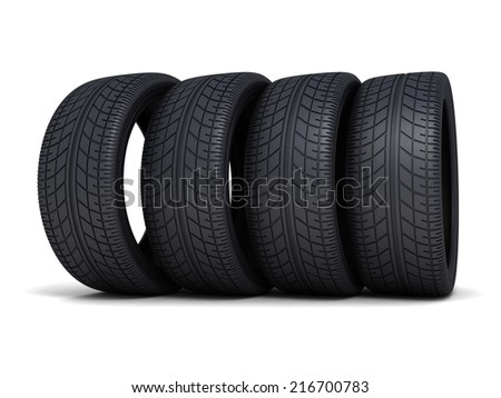 Tire car on white background (done 3d)  - stock photo