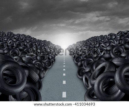 Tire ot tyre landfill automotive transportation concept as a heap of black rubber wheels stacked high with a clear road path as a car transportation symbol with 3D illustration elements. - stock photo