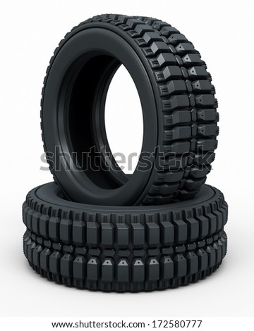 Tire perspective view (isolated on white and clipping path) - stock photo