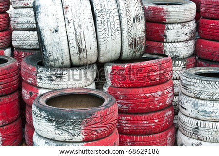 Tire Pile in A Racing Circuit - stock photo