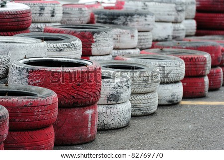 Tire Pile in the racing circuit - stock photo