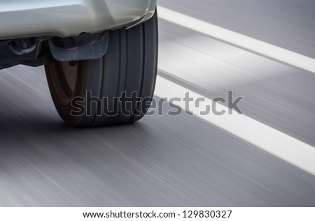 Tire speeding with panning Effect - stock photo