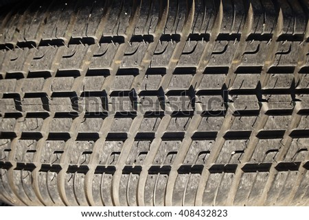 Tire stack background. Selective focus. - stock photo