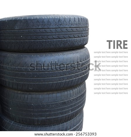Tire stack isolated on white background - stock photo