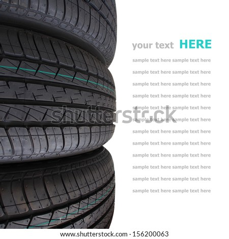 Tire stack selective focus isolated on white background - stock photo
