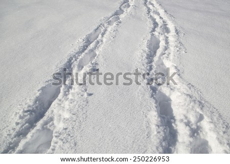 Tire trace on deep fresh snow background. - stock photo