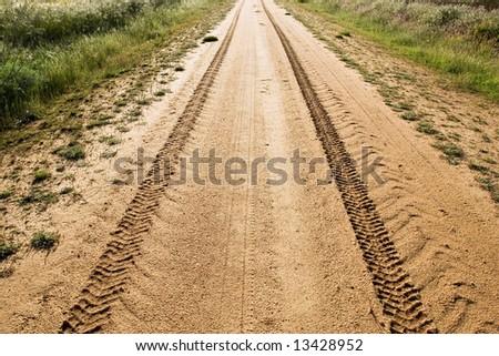 Tire track - stock photo