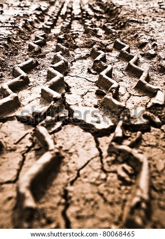 Tire Track on the ground - stock photo