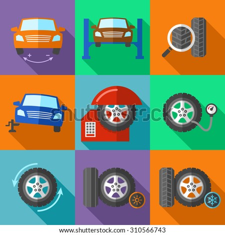 Tire wheel service icons set in flat design style. Car calibration, jack and tuning, fix and pump pressure - stock photo