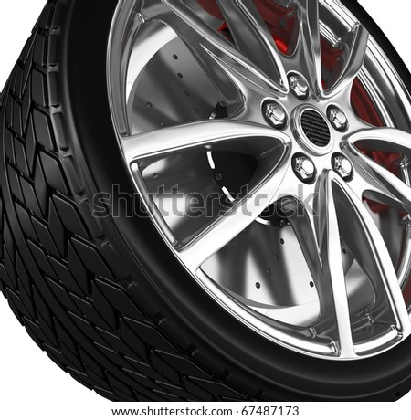 Tire with alloy wheel - 3d render - stock photo