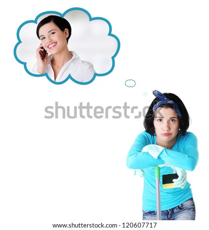 Tired and exhausted cleaning woman dreaming about changing her job. - stock photo