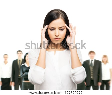 Tired and upset business woman in stress isolated on white - stock photo