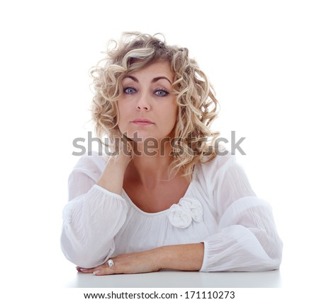 Tired blonde woman portrait - isolated - stock photo