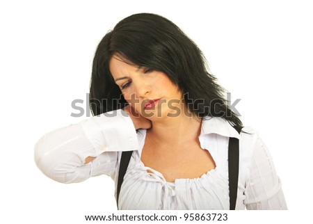 Tired business woman having neck pain isolated on white background - stock photo