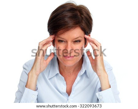 Tired business woman with a headache migraine isolated white. - stock photo
