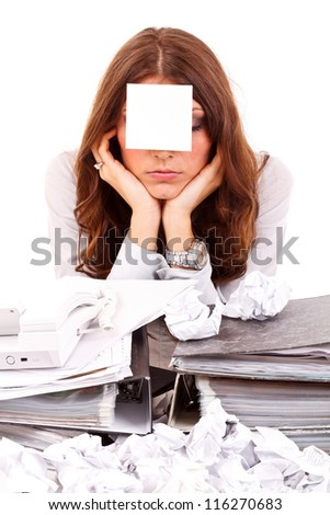 Tired business woman with note papers - stock photo
