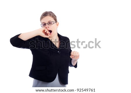 Tired business woman yawning, isolated on the white background. - stock photo