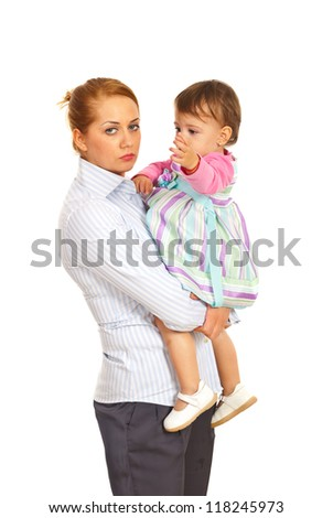 Tired businesswoman being mother and holding daughter isolated on white background - stock photo