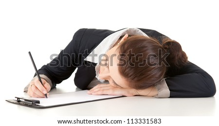 tired businesswoman leaning on the table, sleeping, white background - stock photo
