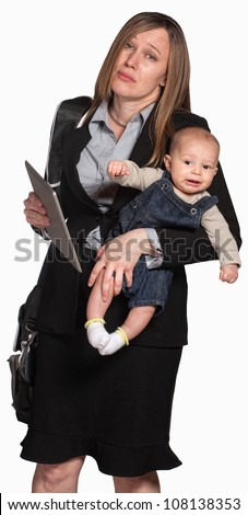 Tired businesswoman with baby over white background - stock photo