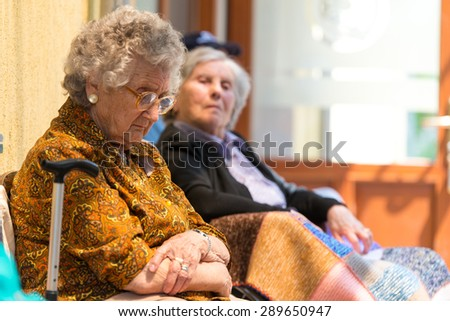 Tired elderly women and free time - stock photo