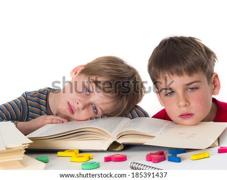 tired pupils - stock photo