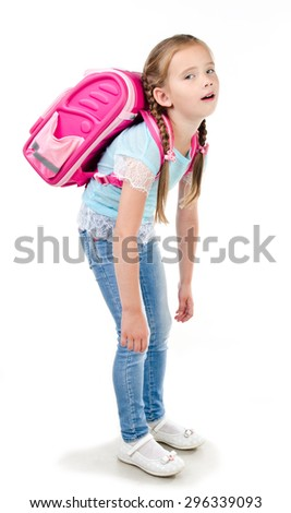 Tired schoolgirl with heavy backpack isolated on a white background - stock photo