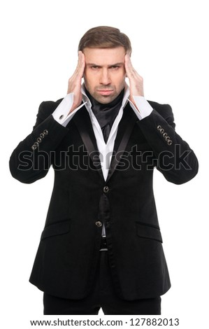 Tired stressed businessman with hands near the head. Isolated on white. - stock photo