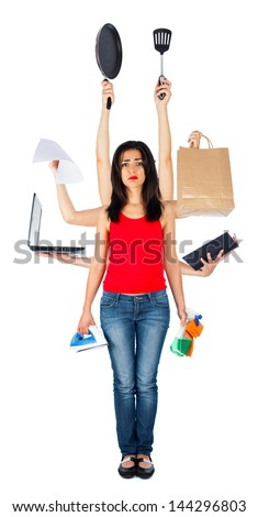 Tired woman holding many different things in her multi hands - multitasking isolated on white. - stock photo