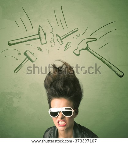 Tired woman with hair style and headache hammer symbols concept on background - stock photo