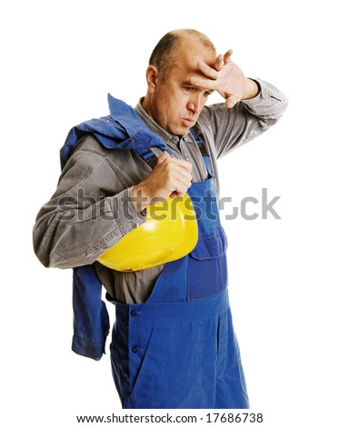 tired worker after hard workday. isolated on white - stock photo