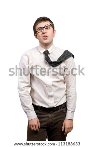 Tired young man in frustration over white background - stock photo