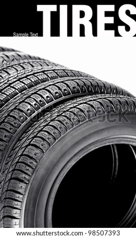 Tires on the white background - stock photo