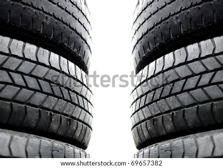 Tires used stacked up  Secondhand recycle  crop normal view - stock photo