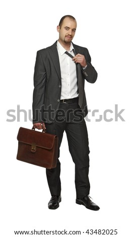 tires young business man isolated on white background - stock photo