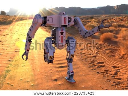 titan robot running on deser front view - stock photo