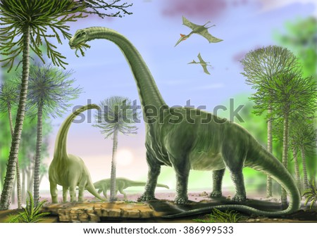 Titanosaur Argentinosaurus Titanosaurs include some of the heaviest ever land animals. Late Cretaceous, about 90 million years ago. Background, flying: Quetzalcoatlus, one of the largest pterasaurs. - stock photo