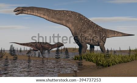 titanosaurus in swamp grass - stock photo