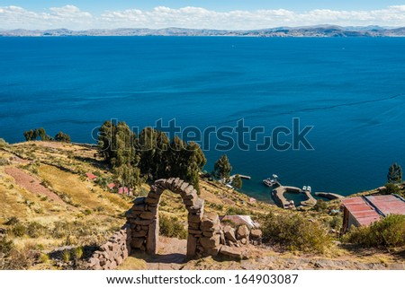 Titicaca Lake from Taquile Island in the peruvian Andes at Puno Peru - stock photo