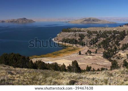 Titicaca lake landscape - stock photo