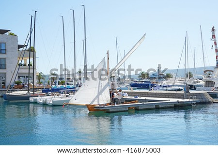 Tivat, Montenegro, April, 15, 2016: Boats and yachts in a bay of Adriatic sea   - stock photo