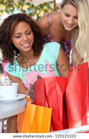 Tking a break from shopping - stock photo