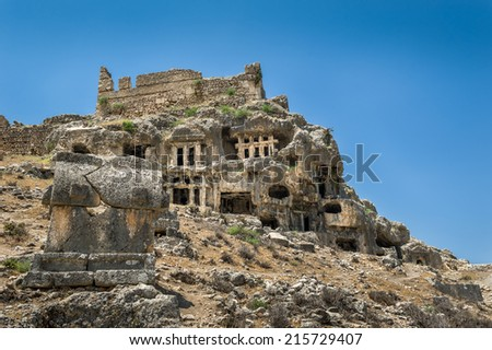 Tlos ancient town ruins. Popular sight in Turkey. - stock photo