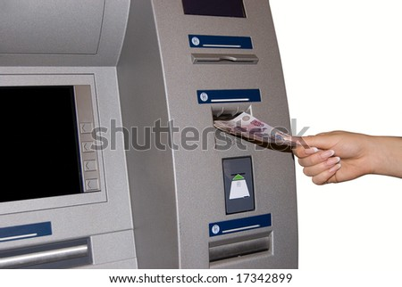 TM Access - woman withdraw money at cashpoints - stock photo