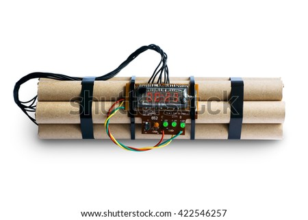 TNT bomb with digital timer isolated - stock photo
