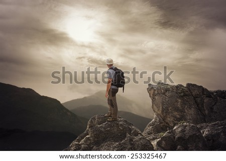 To be on the top of mountain - stock photo
